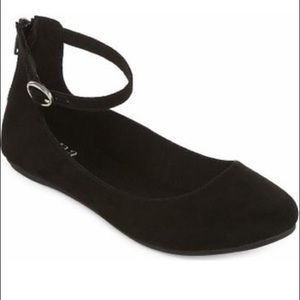 Black suede ankle strap flats